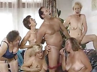 Five grannies and man