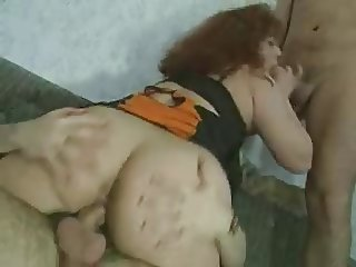 Vintage Big Boobs Brunette Teamed on Sofa