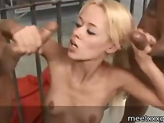 petite blonde gives 2 other inmates handjobs