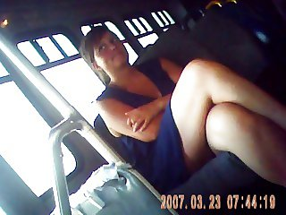 blue dress legs on bus