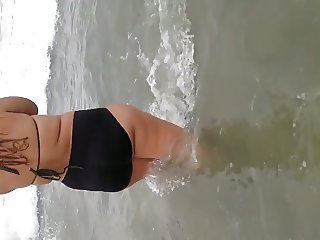 Latina BBW in the ocean 2