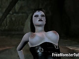Busty 3D brunette babe getting fucked by a monster