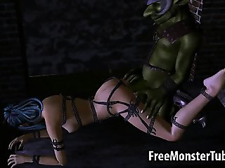 Tied up 3D elf babe gets fucked hard by a goblin