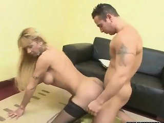 Shemale and her man take turns fucking each other