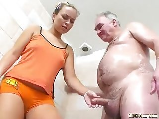 Teen shower with daddy 1-4  Grab his cock