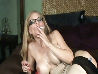 Hot Older Cougar Smoking and Diddling