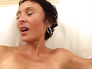 Skinny german mature gangbang
