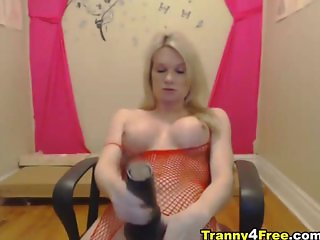 Blonde Tranny Sucks Her Dildo