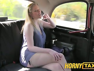 HornyTaxi Blonde with big natural tits makes extra cash