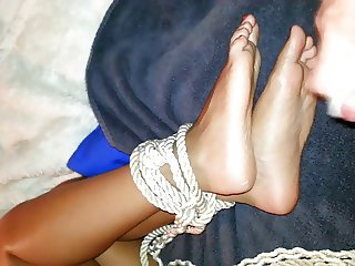 Tied up girl  to feel cum on her helpless feet