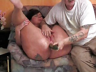 German chubby mature with cucumber in her ass