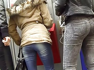 Candid ass tight jeans