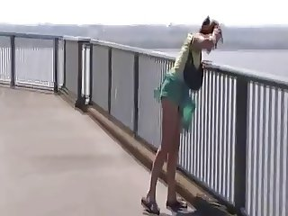 Sexy Lady's Skirt Blowing in the Wind