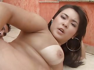 Cute Asian slut makes love to a hard cock with her mouth and pussy