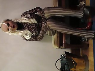 crossdresser changing tights and heels