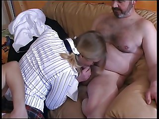 Blond in schoolgirl uniform takes DP from older man and buck