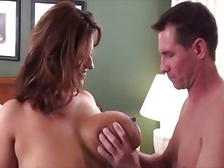 Her big natural tits make him crazy