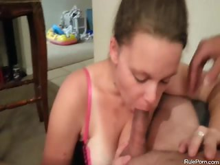 Hoe gagging his a cock