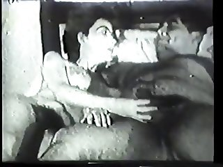 Brunette with amazing tits sucks cock and gets eaten out in vintage video