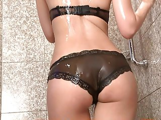 RISA Bakara - Showering in Black Lingerie