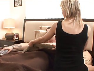 Sexy blonde wakes up young stud to gobble and ride his big dong