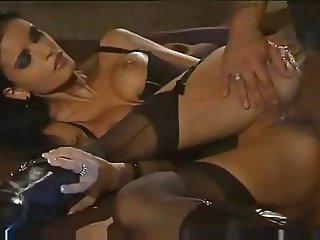 Dark beauty in lingerie likes a cock in her ass!