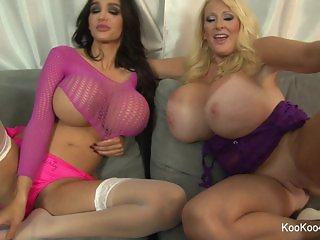 Amy & Kayla dirty talk & show their big tits