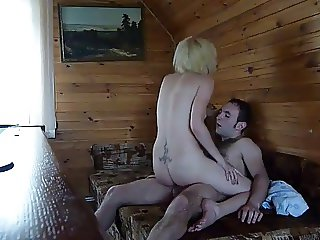 Russian whore fucked and sucked. Cumshot on her tits