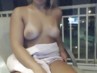 Showing off the balcony on webcam