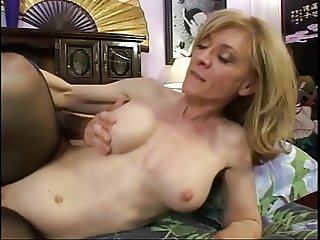 Blonde stockinged MILF sucks young cock the spreads for pussy eating
