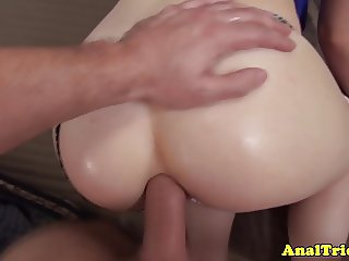 Gaping girlfriend gets anally fucked by her bf