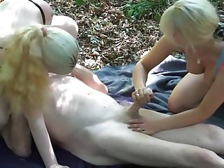 GRANDPA WITH 2 BITCHES IN THE WOODS