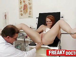Chubby redhead Samantha gyno clinic vagina check-up
