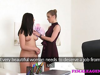FemaleAgent Sexy beauty licking for work in sensual porn