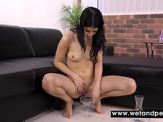 Fun with a glass chair naked