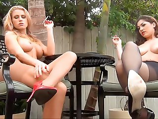 Randy Moore and Freind smoking in pantyhose