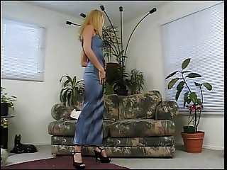 Blonde with a nice rack takes a big one between her legs