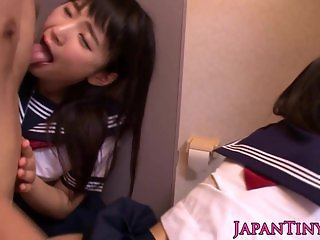 Japanese schoolgirls threeway fuck with dude