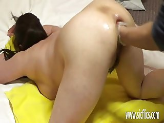 Asian wife fist fucked in her gaping asshole