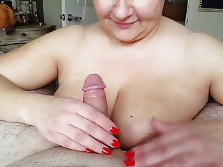 Cum on her huge tits