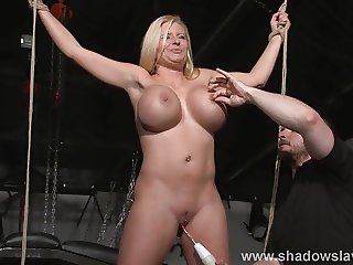 Busty slave Melanie Moons electro tortures and strict german
