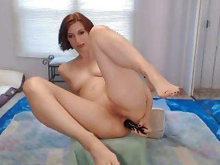12 Inch Dildo all in her Ass + Squirt