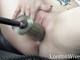 Horny Wife Pounds Pussy with Sex Machine