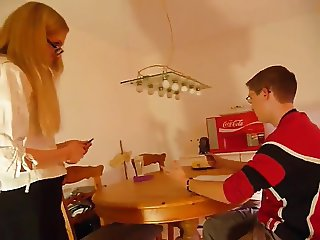 Bossy stepsis Gives Her Virgin stepbro His First Fuck !