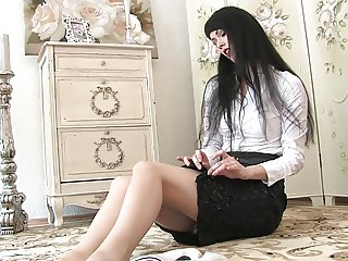 Beautiful foot tease and stocking play
