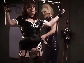 Angelica suspended and cock slapped by Madame C