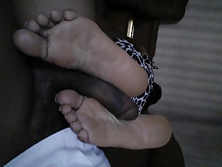 fierce footjob by the office maid