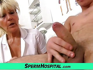 Nasty grandma doctor Hana milking young boy