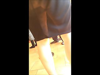 HOT ASS Mom See Through Work Skirt MILF
