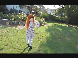 Kigurumi girl in the park :3